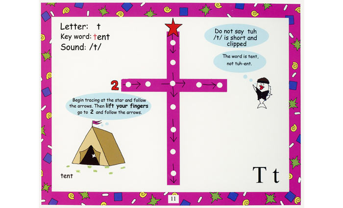 An example of a page from Bumpy Books, helping kids learn to read